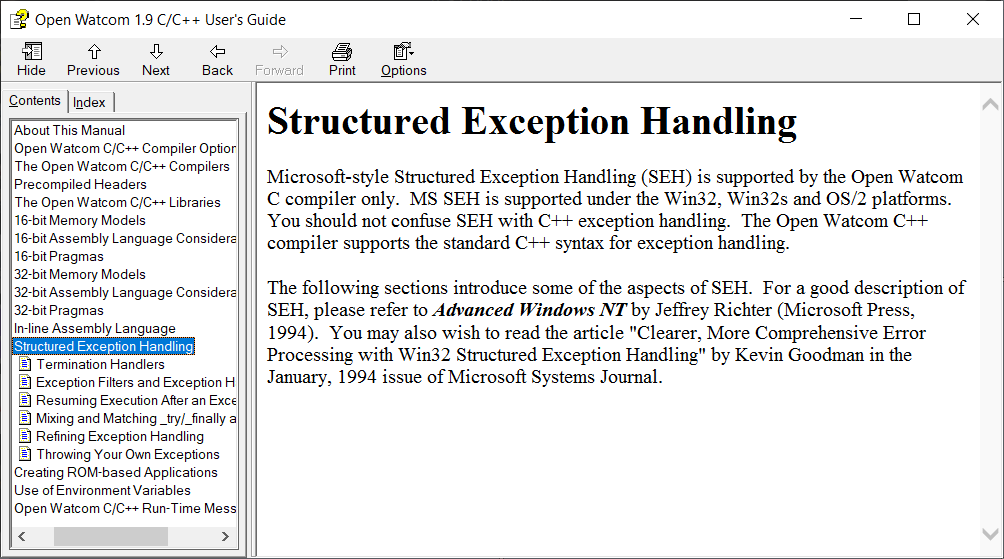 OpenWatcom manual, structured exception handling.